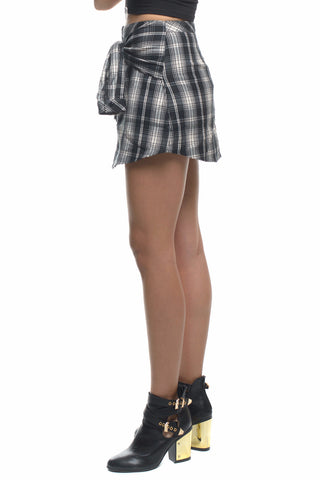 No so Classic Plaid Black & White Mini Skirt with Tie