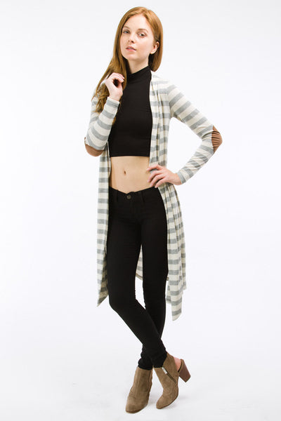 Heather Grey Striped Knee Length Cardigan with Suede Elbow Patch