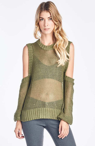 Olive Cold Shoulder Knit Sweater