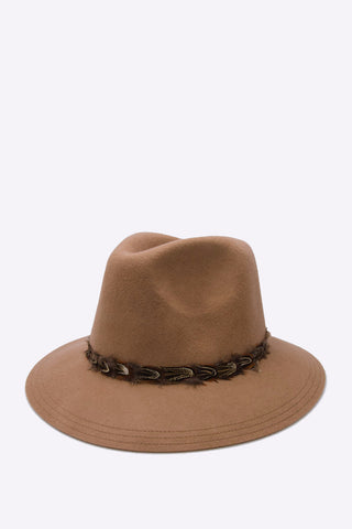 Camel Wide Brim Wool Hat