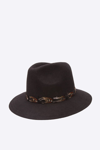 Black Wide Brim Wool Hat
