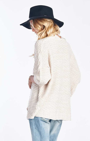 White Open Front Dolman Knit Cardigan