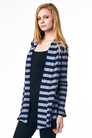 Indigo Striped Hacci Cardigan with Suede Elbow Patch