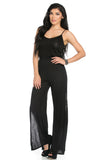 Black V-Neck Jumpsuit with Side Slits