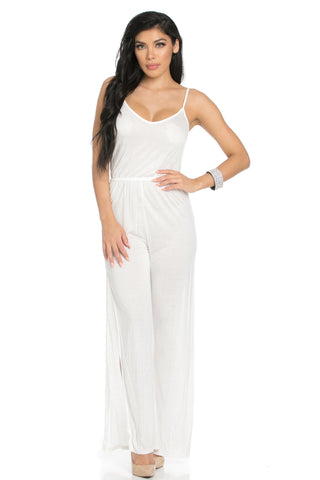 White V-Neck Jumpsuit Playsuit with Side Slits Festival Fashion