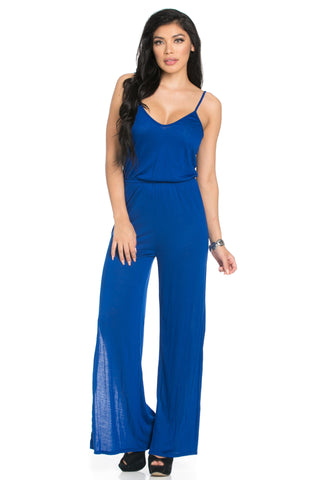 Royal Blue V-Neck Jumpsuit with Side Slits