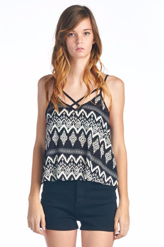 Printed Chevron Crisscross Cutout Tank