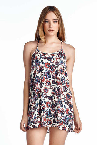 Festival Strapped Floral Print Vanilla Shift Racerback Mini Dress