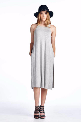 Festival Chic Side Slit Long Strap Tank Tunic Dress