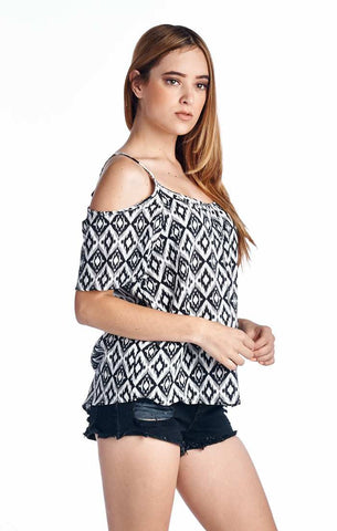Cold Shoulder Azteck Print Top