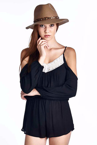 Black Cold Shoulder Romper Playsuit With Crochet Lace Trim Festival Fashion