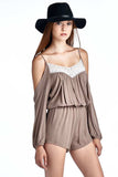 Mocha Cold Shoulder Romper With Lace Trim Festival Fashion