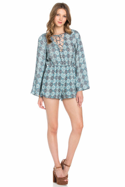 Sun Goddess Cool Blue Festival Print Lace Up Romper Playsuit