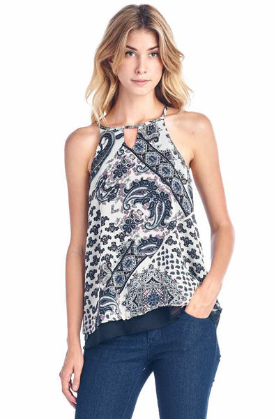 Floral Paisley Print Top