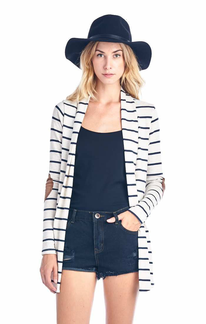 e68256b9d Navy Blue Striped Cardigan With Suede Elbow Patch – Always Me