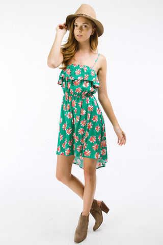 Jade Daisy Print High Low Dress