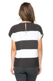 Classic Striped Top With Braided Neck Trim
