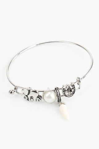 Pearl Detail Horn Aztec Elephant  Horse Shoe Charm Bangle Bracelet Cuff Hook Antique  Silver