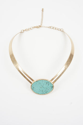 Jade Stone Gold Choker Statement Necklace Festival wear