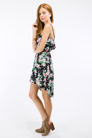 Navy Floral Print High Low Dress