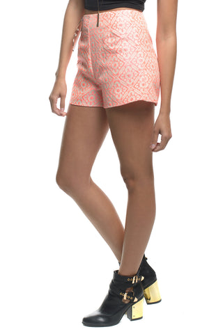 Coral Printed High Waisted Shorts