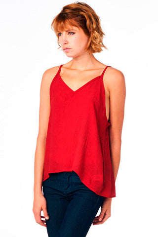 Red V-Neck Tank with Triangle Cut-Out Back