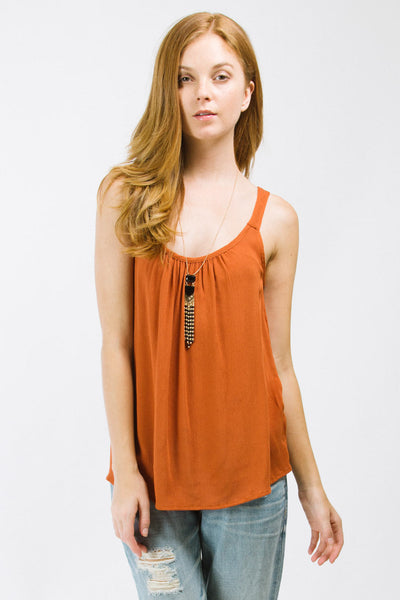 Rust Ruched Neck Tank