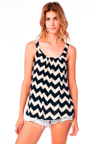Taupe and Black Chevron Print Tank