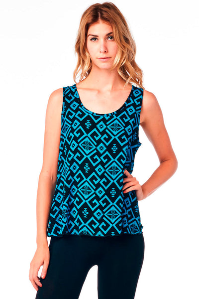 Teal Printed Overlap Back Tank Top