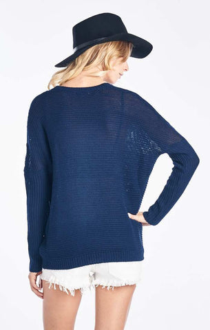 Navy Blue Knit Fisherman's Pullover Sweater