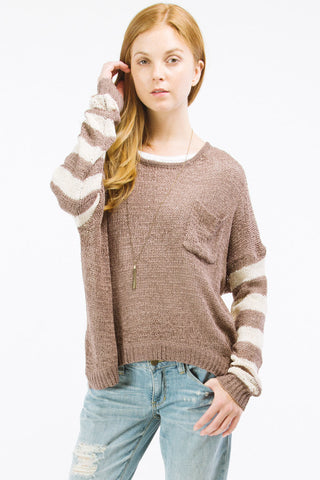 Taupe Striped Pullover with Button Up Back