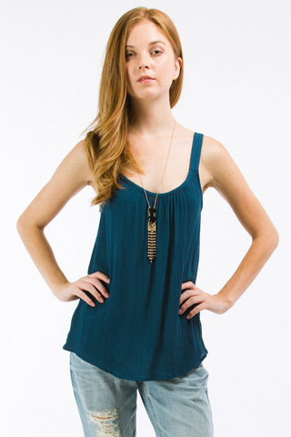Teal Ruched Neck Tank