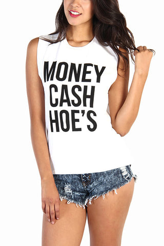 White Money Cash Hoes Cotton Muscle Tank