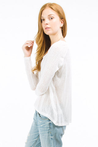 White High Low Long Sleeve Top