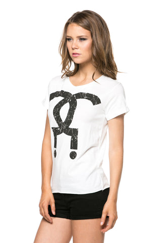 White Question Mark Cuffed Sleeve Shirt
