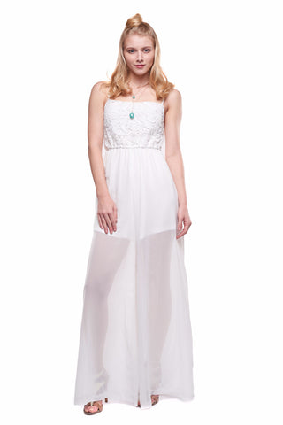 White Crochet Lace Contrast Semi-sheer Wide Leg Jumpsuit
