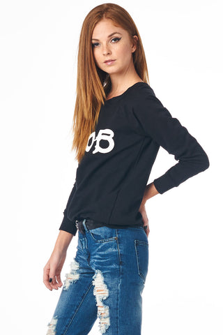 Black $NOB Graphic Raglan Top