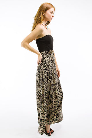 Black/Khaki Tribal Print Tube Maxi Dress