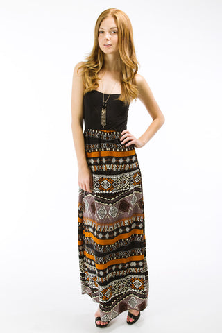 Black/Brown Aztec Print Tube Maxi Dress