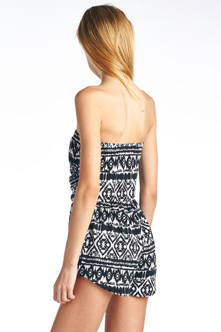Black and White Tribal Print Tube Top Romper with Pockets