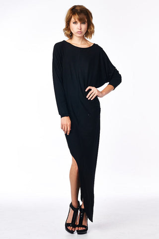 Black Asymmetrical Dolman Dress