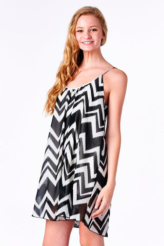 Black Chevron Print Chiffon Babydoll Dress