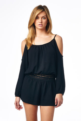 Black Cold Shoulder Romper