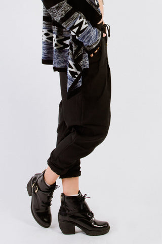 Black Drawstring Harem Pants
