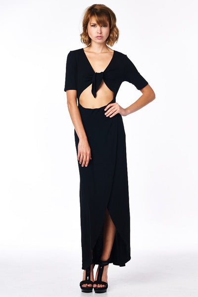 Black Full Length Dress With Midriff Cutout Front Tie