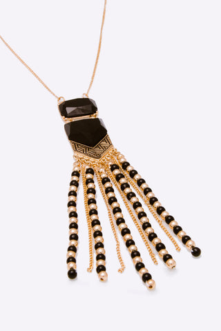 Black and Gold Tribal Fringe Necklace