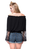 Black Delicate Lace Bell Sleeve Off Shoulder Top