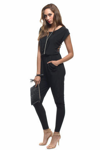 Black Caged Strap Cutout Sexy Back Lattice Off Shoulder Jumpsuit