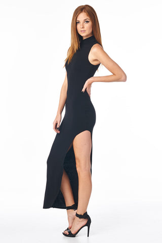 Black Mock Neck Full Length Dress With Side Slit