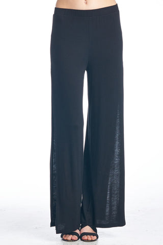Black Palazzo Pants with Side Slit
